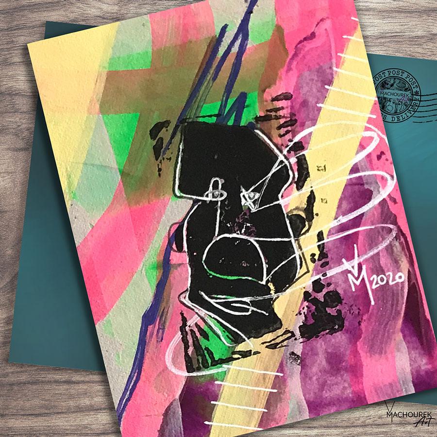 Weird Faces Neon Postcard item 012